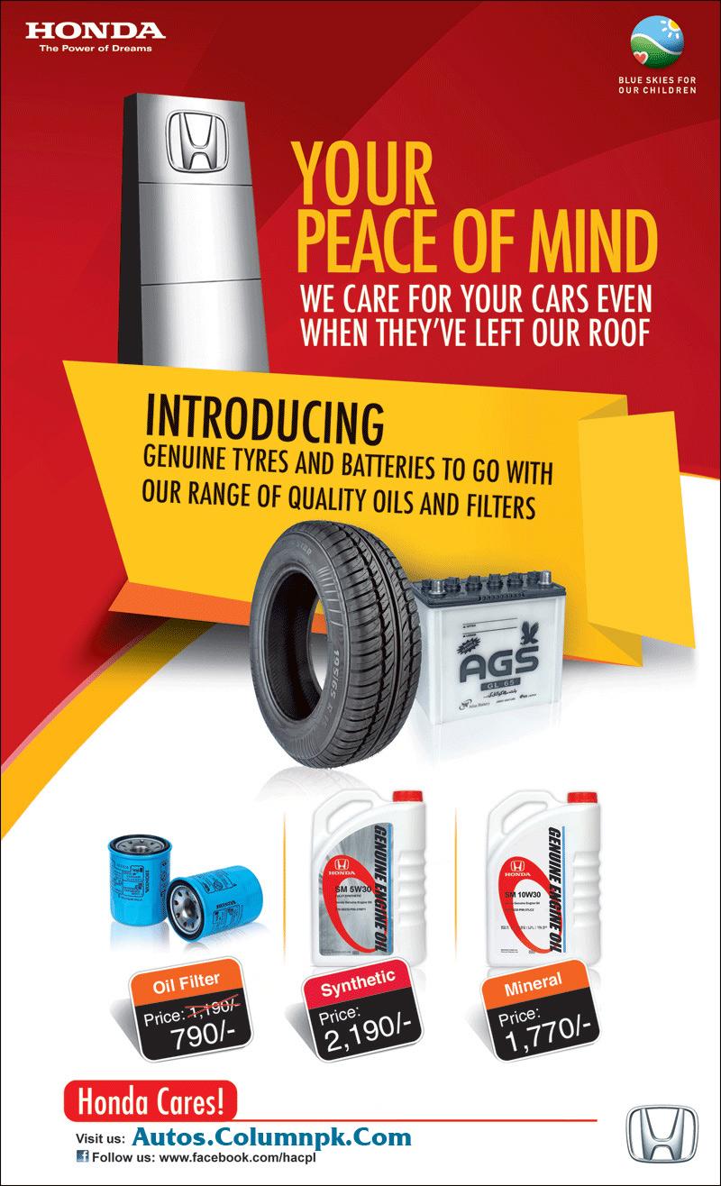 Honda Genuine Tyres, Batteries, Oil & Filters Price in ...